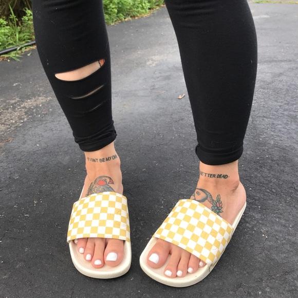 Vans Shoes Pineapple Yellow Checkered Slide Poshmark